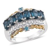 Teal Kyanite, Malgache Neon Apatite 14K YG and Platinum Over Sterling Silver Ring (Size 7.0) TGW 3.750 cts.