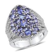 Tanzanite, White Topaz Platinum Over Sterling Silver Openwork Elongated Ring (Size 10.0) TGW 5.532 cts.