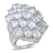 Espirito Santo Aquamarine Sterling Silver Enlarged Cluster Ring (Size 8.0) TGW 14.000 cts.