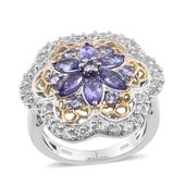 Tanzanite, White Topaz 14K YG and Platinum Over Sterling Silver Ring (Size 7.0) TGW 3.00 cts.
