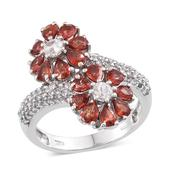 Sunset Red Sapphire, White Topaz Platinum Over Sterling Silver Floral Ring (Size 7.0) TGW 3.900 cts.