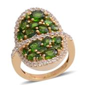 Russian Diopside, White Topaz 14K YG Over Sterling Silver Cluster Ring (Size 7.0) TGW 4.030 cts.