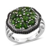 Russian Diopside, Thai Black Spinel, White Topaz Platinum Over Sterling Silver Ring (Size 5.0) TGW 4.935 cts.
