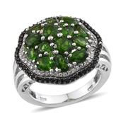 Russian Diopside, Thai Black Spinel, White Topaz Platinum Over Sterling Silver Ring (Size 7.0) TGW 4.935 cts.