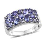 Tanzanite Platinum Over Sterling Silver Ring (Size 7.0) TGW 2.83 cts.