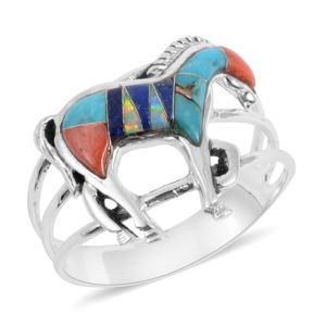 Santa Fe Style Multi Gemstone Sterling Silver Horse Ring (Size 8.0) TGW 0.75 cts.