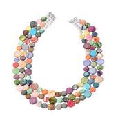 Multi Color Shell Triple Strand Silvertone Necklace (18 in)