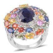 Kanchanaburi Blue Sapphire, Multi Gemstone Platinum Over Sterling Silver Ring (Size 8.0) TGW 11.495 cts.