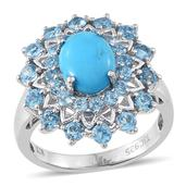 Everlasting by Katie Rooke Arizona Sleeping Beauty Turquoise, Swiss Blue Topaz 14K YG and Platinum Over Sterling Silver Ring (Size 7.0) TGW 5.730 cts.