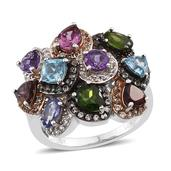 Multi Gemstone 14K RG, Black Rhodium and Platinum Over Sterling Silver Ring (Size 8.0) TGW 4.42 cts.