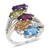 Multi Gemstone 14K YG and Platinum Over Sterling Silver Ring (8.50) (Size 8.0) TGW 5.85 cts.