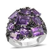 Jewel Studio by Shweta Amethyst, Thai Black Spinel Platinum Over Sterling Silver Ring (Size 7.0) TGW 8.250 cts.
