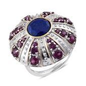 Lapis Lazuli, Orissa Rhodolite Garnet 14K YG and Platinum Over Sterling Silver Statement Ring (Size 9.0) TGW 7.90 cts.