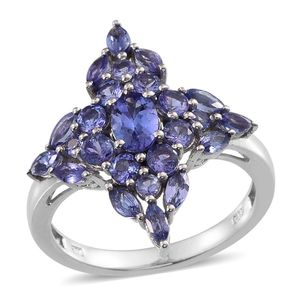Tanzanite (3A) Platinum Over Sterling Silver Ring (Size 7.0) TGW 2.960 cts.
