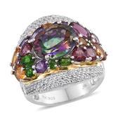 Jewel Studio by Shweta Northern Lights Mystic Topaz, Multi Gemstone 14K YG and Platinum Over Sterling Silver Ring (Size 9.0) TGW 12.030 cts.