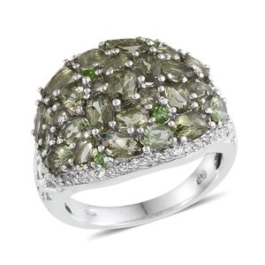 Bohemian Moldavite, Russian Diopside, White Topaz Platinum Over Sterling Silver Openwork Cluster Ring (Size 7.0) TGW 5.600 cts.