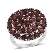 Mozambique Garnet Platinum Over Sterling Silver Ring (Size 6.0) TGW 9.510 cts.