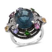 Blue Fluorite, Multi Gemstone Platinum Over Sterling Silver Ring (Size 7.0) TGW 14.52 cts.