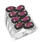Niassa Ruby, Thai Black Spinel Platinum Over Sterling Silver Elongated Open Band Ring (Size 9.0) TGW 3.70 cts.