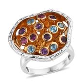 SUGAR by Gay Isber Multi Gemstone 14K YG and Platinum Over Sterling Silver Ring (Size 7.0) TGW 1.770 cts.
