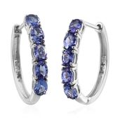 Tanzanite Platinum Over Sterling Silver Huggie Hoop Earrings TGW 3.750 cts.