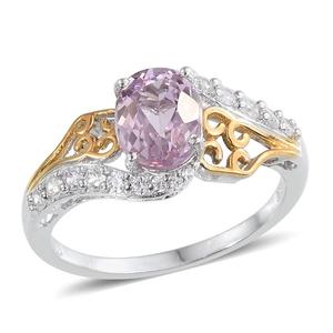 Kunzite, White Zircon 14K YG and Platinum Over Sterling Silver Ring (Size 8.0) TGW 2.910 cts.