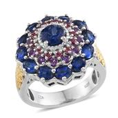 Himalayan Kyanite, Amethyst, Orissa Rhodolite Garnet 14K YG and Platinum Over Sterling Silver Ring (Size 5.0) TGW 4.46 cts.