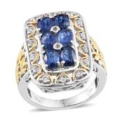 Himalayan Kyanite, White Topaz 14K YG and Platinum Over Sterling Silver Ring (Size 5.0) TGW 4.200 cts.