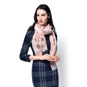 J Francis - Pink and Brown 100% Viscose Scarf (72x35 in)