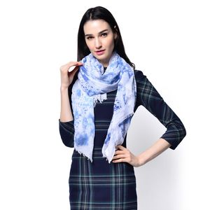 Blue 100% Viscose Scarf (72x35 in)
