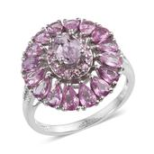 Kunzite, Madagascar Pink Sapphire, White Zircon Platinum Over Sterling Silver Ring (Size 9.0) TGW 4.78 cts.