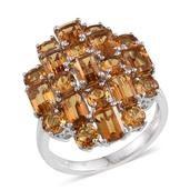 Brazilian Citrine Platinum Over Sterling Silver Ring (Size 7.0) TGW 8.050 cts.