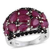 Niassa Ruby, Thai Black Spinel Platinum Over Sterling Silver Cluster Ring (Size 5.0) TGW 8.360 cts.
