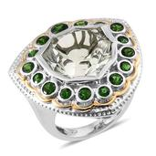 Green Amethyst, Russian Diopside 14K YG and Platinum Over Sterling Silver Statement Ring (Size 7.0) TGW 12.07 cts.