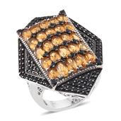 Brazilian Citrine, Thai Black Spinel Platinum Over Sterling Silver Ring (Size 7.0) TGW 8.880 cts.