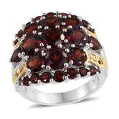 Mozambique Garnet, White Topaz 14K YG and Platinum Over Sterling Silver Ring (Size 6.0) TGW 11.720 cts.