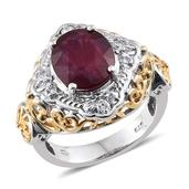 Niassa Ruby, White Topaz 14K YG and Platinum Over Sterling Silver Openwork Ring (Size 7.0) TGW 6.550 cts.