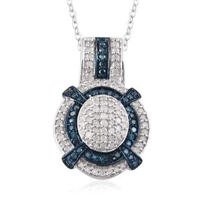 Certified Blue Diamond (IR), Diamond Platinum Over Sterling Silver Pendant With Chain (20 in) TDiaWt 0.740Cts., TGW 0.74 Cts.