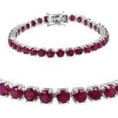 Niassa Ruby Platinum Over Sterling Silver Bracelet (7.75 In) TGW 21.850 cts.