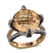 GP Brazilian Citrine, Multi Gemstone 14K YG Over Sterling Silver Ring (Size 9.0) TGW 11.310 cts.