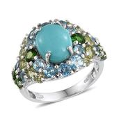 Sonoran Blue Turquoise, Multi Gemstone Platinum Over Sterling Silver Ring (Size 6.0) TGW 7.390 cts.