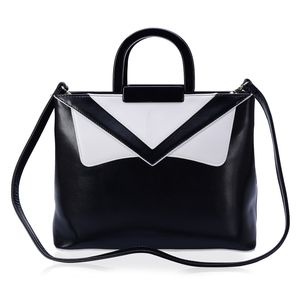 J Francis - Black and White Classic Faux Leather Handbag (12x5x10 in)