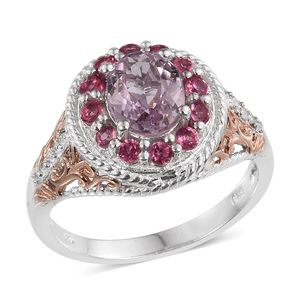 Kunzite, White Zircon, Mahenge Pink Spinel 14K RG and Platinum Over Sterling Silver Ring (Size 10.0) TGW 2.970 cts.