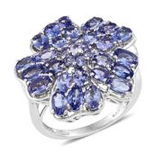 Tanzanite Platinum Over Sterling Silver Floral Statement Ring (Size 6.0) TGW 5.70 cts.