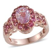 Kunzite, Pink Tourmaline 14K RG Over Sterling Silver Ring (Size 8.0) TGW 3.85 cts.