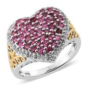 Mahenge Spinel, White Topaz 14K YG and Platinum Over Sterling Silver Cluster Heart Ring (Size 8.0) TGW 2.345 cts.