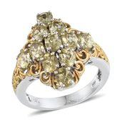 Yellow Apatite 14K YG and Platinum Over Sterling Silver Ring (Size 7.0) TGW 4.800 cts.