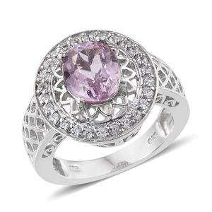 Kunzite, White Zircon Platinum Over Sterling Silver Ring (Size 7.0) TGW 3.70 cts.