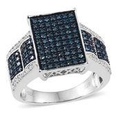 Blue Diamond (IR), Diamond Platinum Over Sterling Silver Ring (Size 6.0) TDiaWt 0.99 cts, TGW 0.985 cts.
