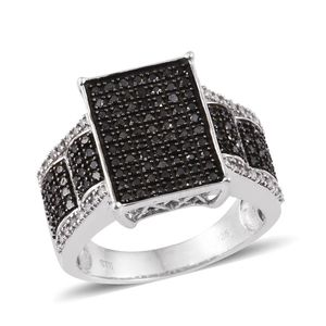 Black Diamond (IR), Diamond Platinum Over Sterling Silver Ring (Size 10.0) TDiaWt 0.99 cts, TGW 0.99 cts.